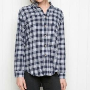 BRANDY MELVILLE Blue & White Plaid Flannel Shirt